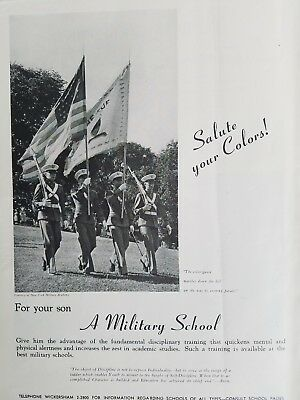1940 New York Military Academy photo recruiting soldiers Flags ad