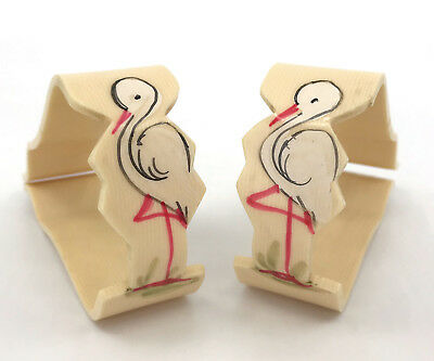 Vintage Stork Baby Blanket Pram Cover Clip Pair c1940s Celluloid Decor Nursery