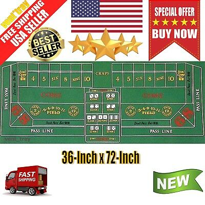 New Craps Felt Layout for Home Games 36-Inch x 72-Inch