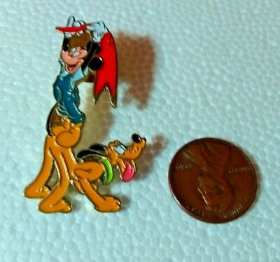 Disney PIN PLUTO & MICKEY Standing on Pluto waving Red Flag New no package