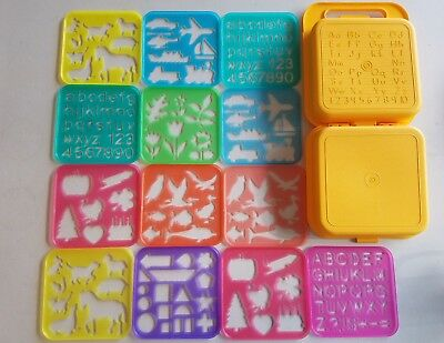 Large Vintage Tupperware Tuppertoys Stencils Lot with Rare Yellow Carry Case