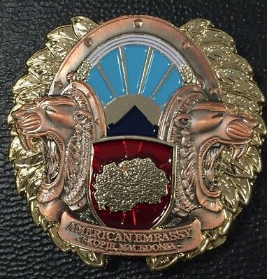 USMC MSG Marine Security Guard Challenge Coin Skopje, Macedonia