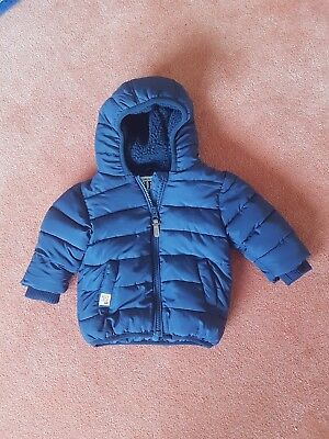 Next Baby Boys Hooded Coat Jacket Quilted. 3 - 6 Months