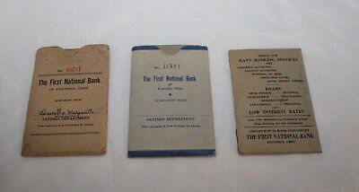 2 First National Bank Fostoria Vintage Savings Account Books & Deposit Receipt