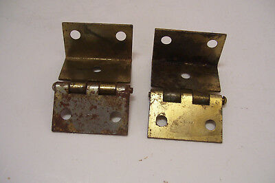Pair of Vintage Shutter Hinges 1.5 Inches Tall Brass-Tone Finish