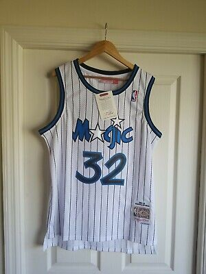 the latest b4ea3 3a87d NWT SHAQUILLE SHAQ O'neal Orlando Magic White Throwback Jersey LARGE L SEWN