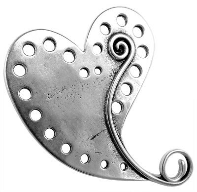 Minott Charm Pendant Heart Brass, Silver Plated in Used Look 33012