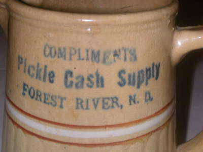RARE Red Wing Saffron Advertising Pitcher Pickle Cash Supply/Forest River, N.D.