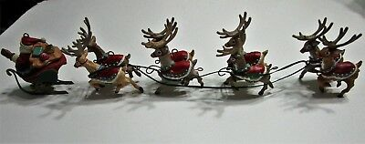 13 Inch Resin Santa & Reindeer Decoration For Tree Or Table Ex Cond