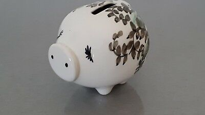 LOVELY RARE JERSEY POTTERY PIGGY Bank - GREEN floral pattern