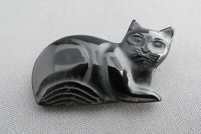 Vintage 3D Carved Shaped Onyx Kitty Cat Pin Brooch