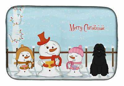 Merry Christmas Carolers Bouvier Des Flandres Dish Drying Mat