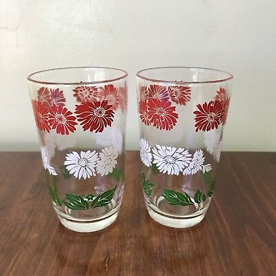 Vintage Swanky Swig Juice Glasses Red & White Bachelor Button Daisy