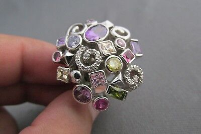 Vintage Silver Tone Chunky Rhinestone Confetti Collage Party Ring