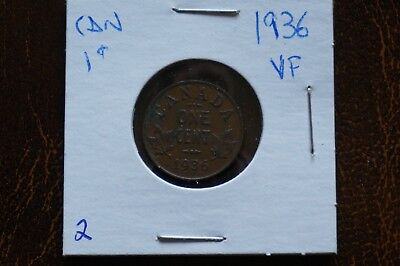 A-81 1936 Canada One Cent George V Canadian Penny Copper Coin RCM
