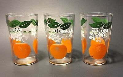 VINTAGE ORANGE JUICE GLASSES Small Oranges White Flowers Set of 3