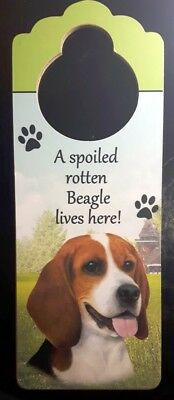 New BEAGLE Door Knob Handle Hanger Wooden Sign Spoiled Pet Dog FREE SHIPPING