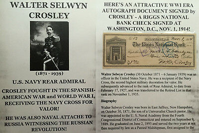 Spanish American War Wwi Navy Rear Admiral Canal Zone Document Signed Check 1914