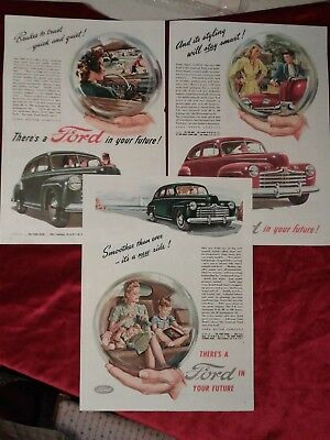 """RARE 1940s VINTAGE FORD Ads Crystal Ball Future Vintage Art 10.75""""×8"""" Lot of 3!"""