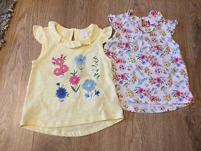 New Mini club Baby Girl Cute 2 Piece floral yellow collar white top 9-12months