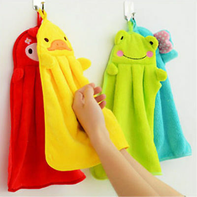 Baby Children Soft Plush Cartoon Animal Hanging Bathing Hand Towel Nursery