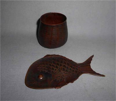 Antique Japan TOP HIGH AGED MEIJI ERA COPPER SMALL CUP WITH FISH PLATE
