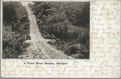 Douglas, Michigan, USA - Pretty Drive - postcard 1906 with local pmk