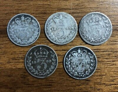 World Silver Coins: Lot of 5 British Silver Threepence Queen Victoria, 1874-1900