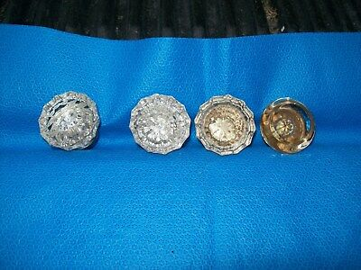 "Vintage  Glass Door Knobs  with  Threaded Center 2""   Lot of 4"