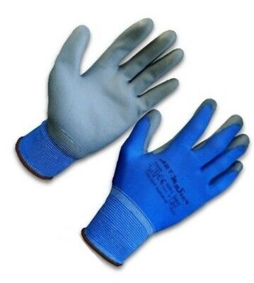 Blue Nylon PU Coated Work Gloves Flexible Grip PPE SUPPLIER