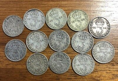 World Silver Coins: Lot of 13 British Silver Threepence, King George V