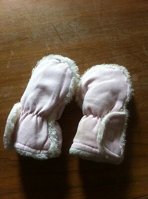 Baby Girls Pink Faux Fur Mittens 2 3 4 5 6 Months Old
