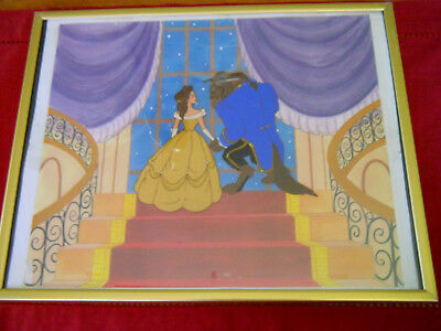 "BELLE/BEAST-HAND PAINTED COLOR CEL FRAMED FROM BEAUTY AND THE BEAST  14"" x 11"""