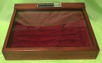 Vintage Buck Knives Wood and Glass Store Counter Display Case - Made In USA