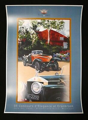 1914 ROLLS-ROYCE Silver Ghost Skiff Cranbrook Concours ENZO NASO Art Poster