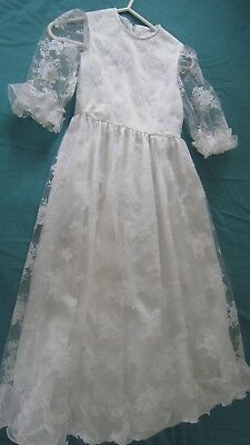 Vintage Lace Handmade Retro Girls Dress Gown Lace White Gorgeous Item LOOK