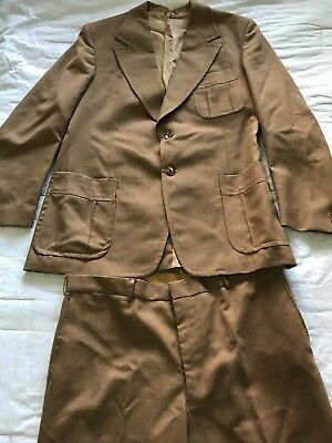 "Vintage Retro 1970s Men's Size Safari Suit Sz 40"" Jacket 38"" Waist Pants VGC"