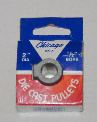 """Chicago Die Cast Single V Grooved Pulley A Belt w 2"""" Dia X 1/2"""" Bore Bulk NOS"""