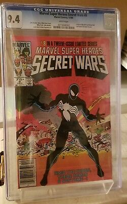 Marvel Super Heroes Secret Wars #8 CGC 9.4 1st App of Black Costume White Pages