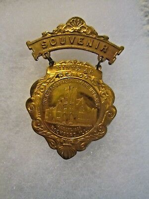 Rockford, Ill. Swedish Baptist Church Opening  Brass Souvenir Hang Badge  1908
