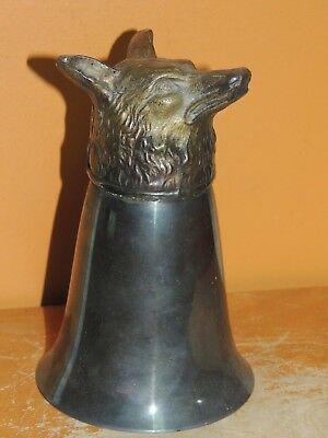 "Antique Silverplate 5""+ Fox Head Gilt Stirrup Cup 300 grams / 10 ounce unmarked"