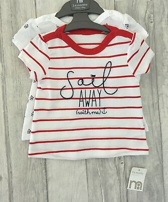 Mothercare Baby 2 Pack Sailor Tops 3-6 Months Summer Holiday Tshirt Set BNWT NEW