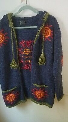 Native American Handmade Womens Blue  Sweater Jacket. Cotton and Wool Pre-owned.