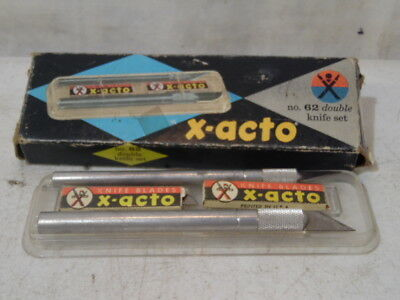 Vintage X-Acto Knife Set NO 62 Two Piece 6 Blades Hobbies Wood Craft Hand Tools