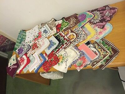 Lot of 31 Vintage Floral Print Hankies, no holes or stains, asstd sizes/colors