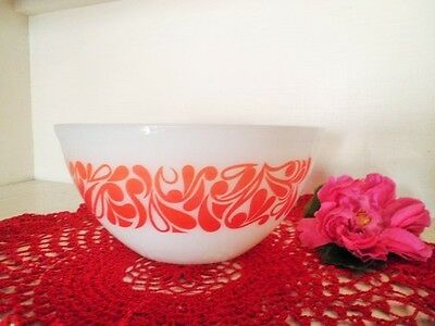 RETRO PYREX MIXING BOWL RED ORANGE VINTAGE MEDIUM 20.5CM see MORE LISTED