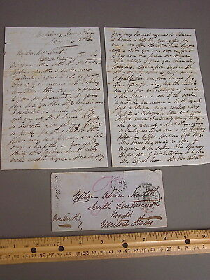 1863 Whaling Letter Sent To Capt. Abner Smith For His Wife, Dartmouth, Ma
