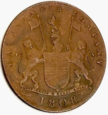 1808 EAST INDIA COMPANY X-Cash - GREAT DETAIL - SEE PICS - Coat of Arms