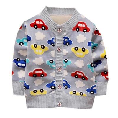 Woolen Cardigan Outerwear For Baby Boy Spring Clothing Cars Print Woolen Jackets