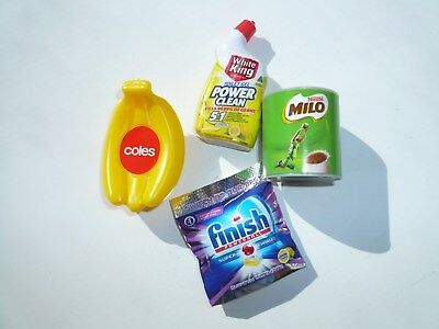 4 x Coles little shop minis: bananas, Milo, Finish, White King